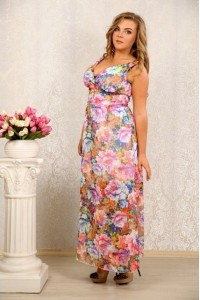 Платье с цветами 041 - последний 44р.