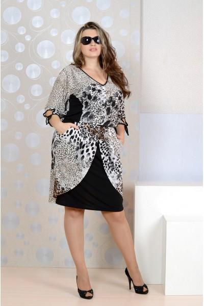 Леопардовое платье 0140 - остались 52, 66, 72р
