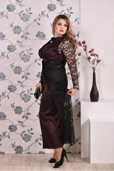 Коричневое платье 0192 (юбка опционально) - последний 46, 68р