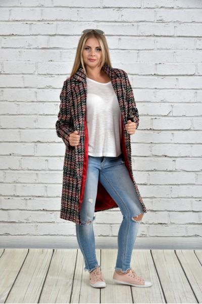 Пальто шанель красное 0332-2