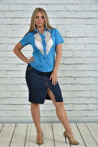Голубая блузка 0359-2 - последний 44р