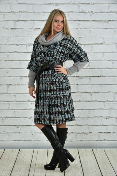 Пальто голубое 0357-1 (пояс в комплекте) - последний 52 размер