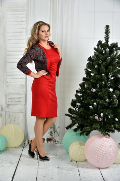 Красный жакет 0388-3 (на фото с платьем 0384-3)