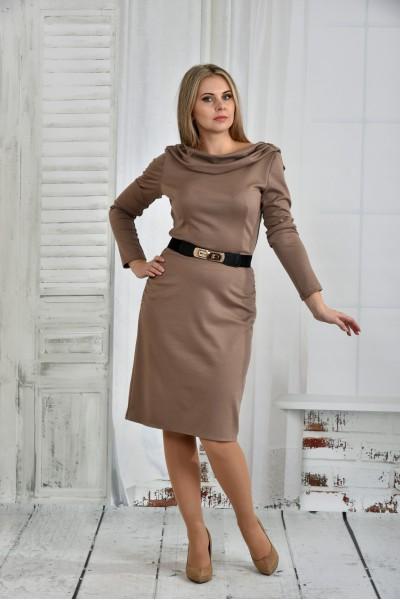 Бежевое платье 0399-3 - последний 44р