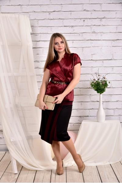 Бордовая блузка 0456-1 (юбка 0458-1 отдельно) - последний 44р