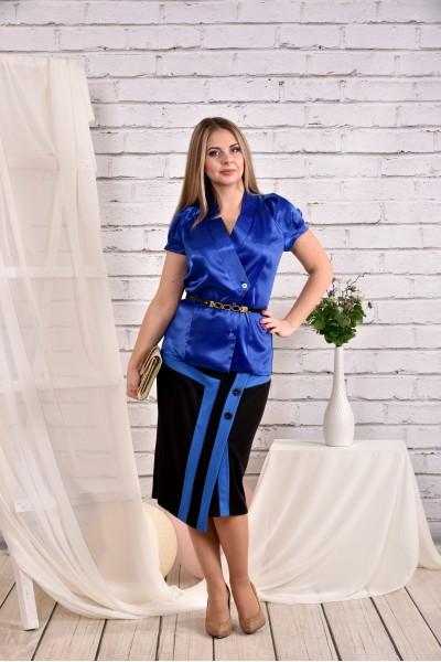 Синяя блузка 0456-2 (юбка 0458-2 отдельно) - последний 44р