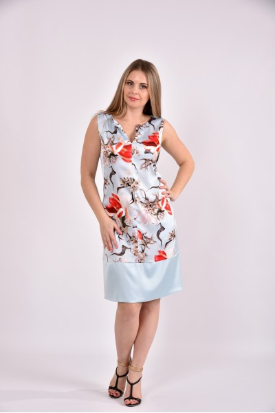 Платье принт голубой 0491-2