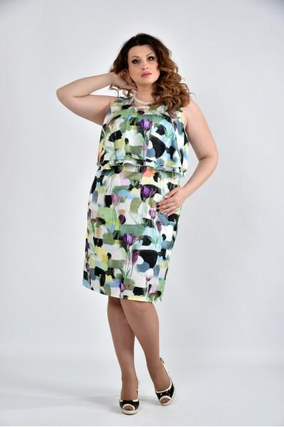 Зеленое платье с цветами 0513-2 - последние 58, 64р