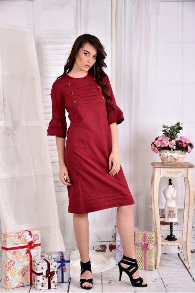 Бордовое льняное платье 0542-1 - последний 44, 56р