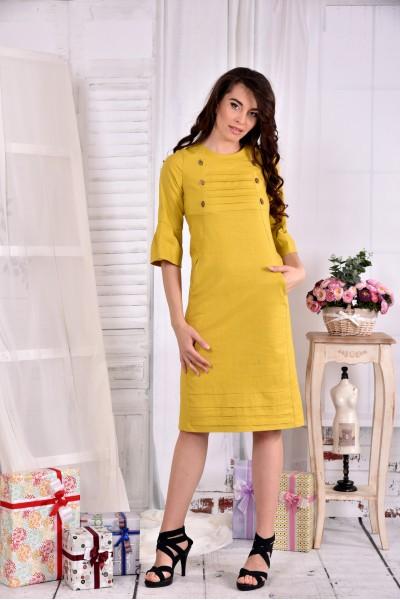Горчичное платье из льна 0542-2 - последний 44р