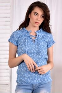 Голубая блузка 0545-3 - последний 44р