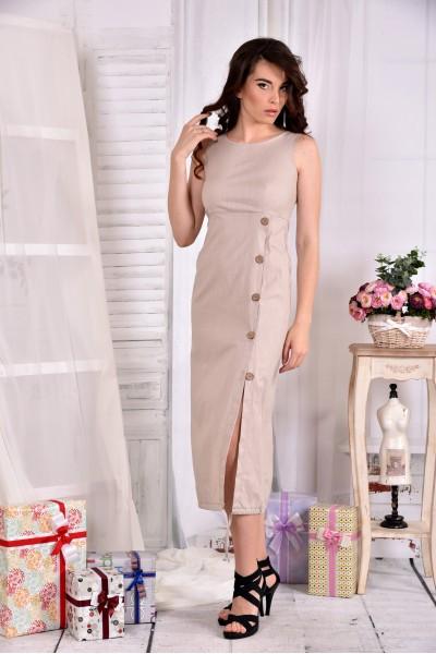 Длинное бежевое платье из льна 0550-1