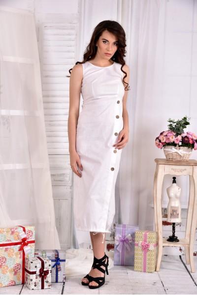 Длинное льняное платье 0550-3 молоко