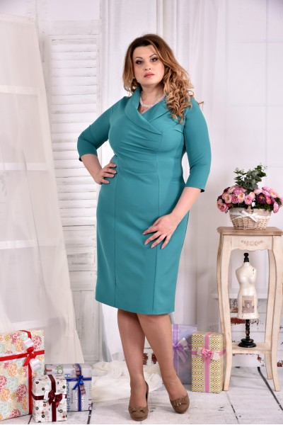 Нарядное платье бирюзового цвета 0552-1