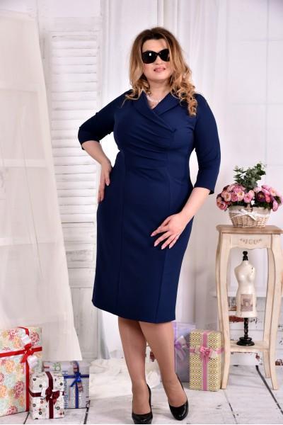 Синее платье 0552-3 из костюмки