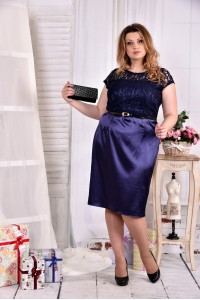 Синее платье с гипюром 0554-2
