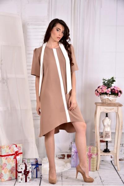Бежевое нежное платье 0556-1 - последний 44р