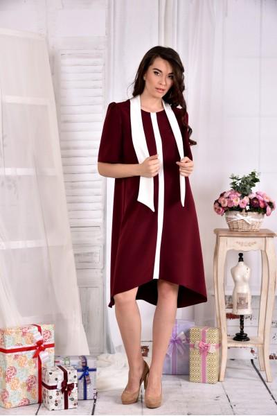 Бордовое платье 0556-2 - последний 44р