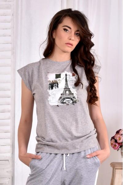Серая футболка с принтом (ПРИНТ НА ВЫБОР) 0557-2 (турецкий трикотаж)