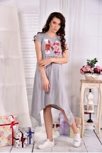 Серое легкое платье ниже колена 0558-2
