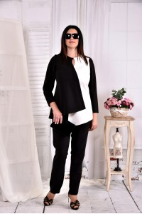 Черно-белая блузка 0565-1 (идеально сочетается с брюками 030-1)
