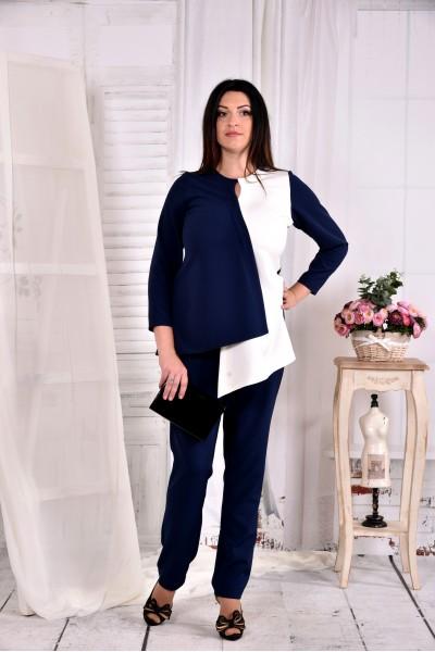 Синяя с белым блузка 0565-2 (классно сочетается с брюками 030-2)