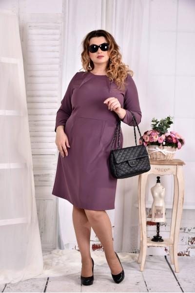 Фиолетовое платье делового стиля 0573-1 - последний 50р