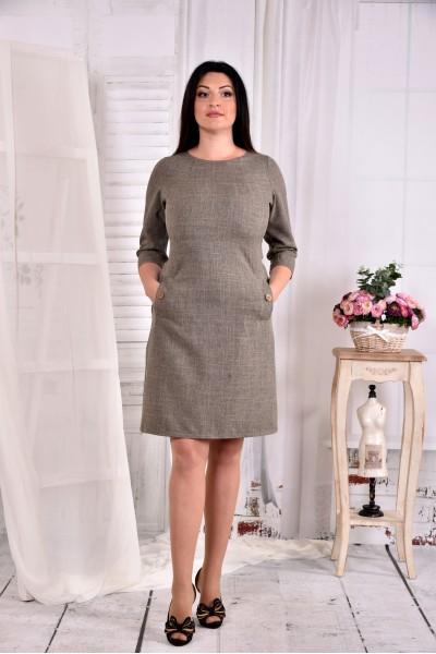 Горчичное платье до колена с карманами 0574-3 - последний 52р