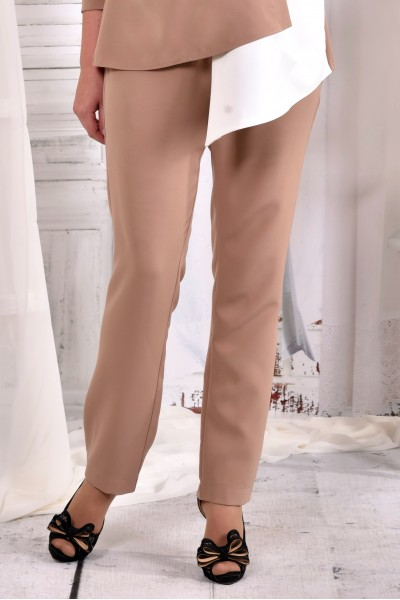 Бежевые строгие офисные брюки 030-3 (превосходно сочитаются с блузкой 0565-3)