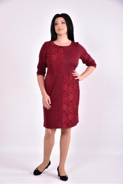 Бордовое платье с гипюровыми вставками | 0593-2 - последний 54р