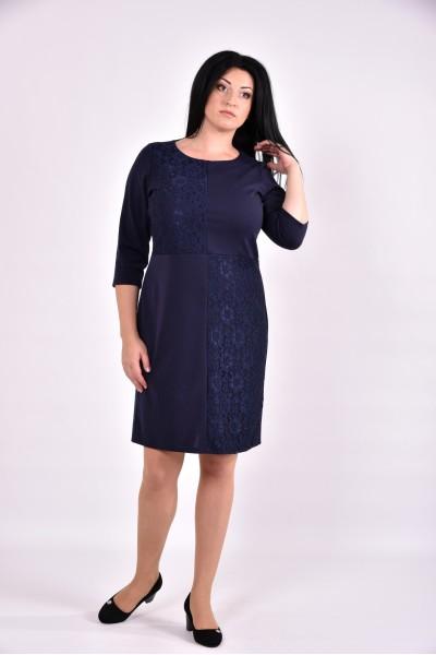 Темно-синее платье с гипюром | 0593-3 - последний 54р