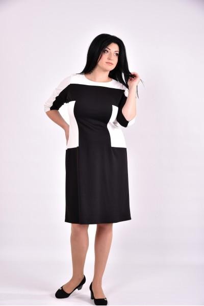 Черно-белое трикотажное платье формирующее таоию | 0595-1 - последний 54р