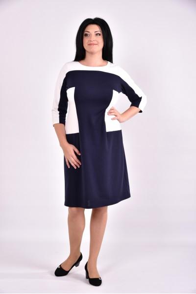 Синее с белым платье уменьшающее талию | 0595-2 - последний 54р