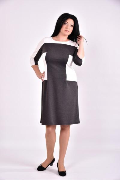 Серое платье с белыми вставками | 0595-3 - последний 54р