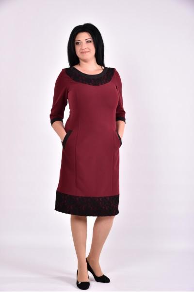 Бордовое платье миди | 0599-2