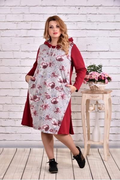 Бордовое платье с капюшоном | 0618-1