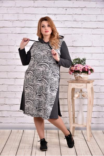 Спортивное платье серого цвета с капюшоном и рисунком | 0618-2