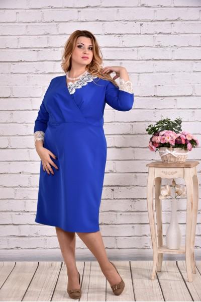 Очень нарядное платье электрик   0630-3 - последний 58р