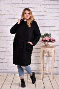 Черное пальто из шерсти | t0642-1