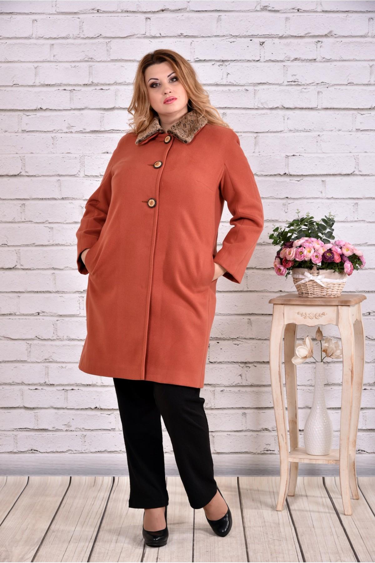 Утепленное пальто терракот до -15 градусов | t0647-1