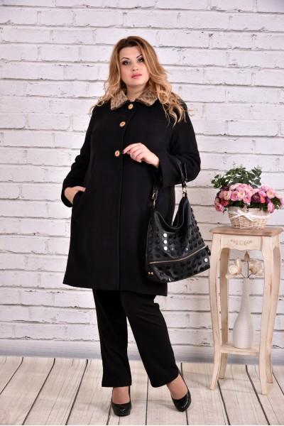 Зимнее пальто черное | t0647-3