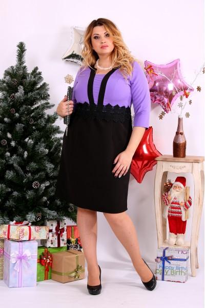 Сиреневое комбинированное платье | 0655-1