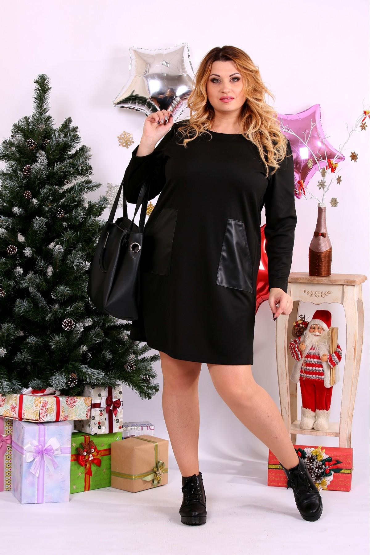 Черное платье с карманами   0663-1