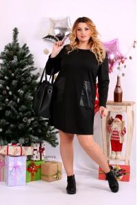Черное платье с карманами | 0663-1