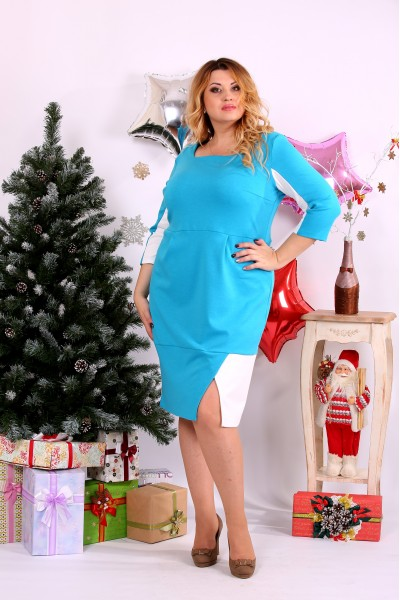 Голубое с белым платье   0667-2 - последний 58р