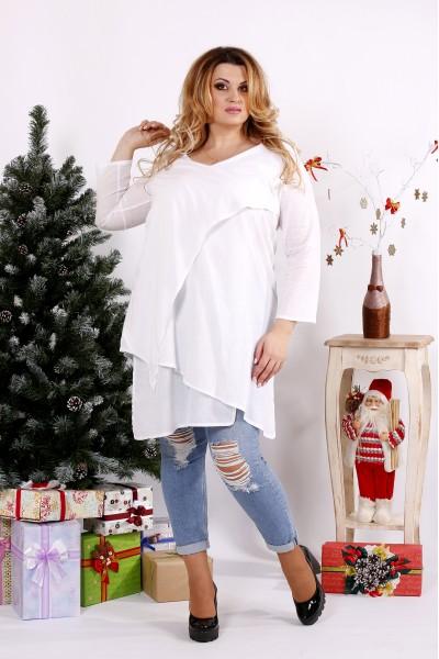 Белая блузка-туника на каждый день | 0675-3