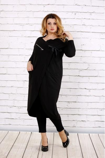 Черная блузка-туника | 0702-3