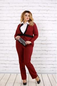 Бордовый жакет из габардина 0704-2-1 (Идеально сочетаются с брюками 0704-2-2)