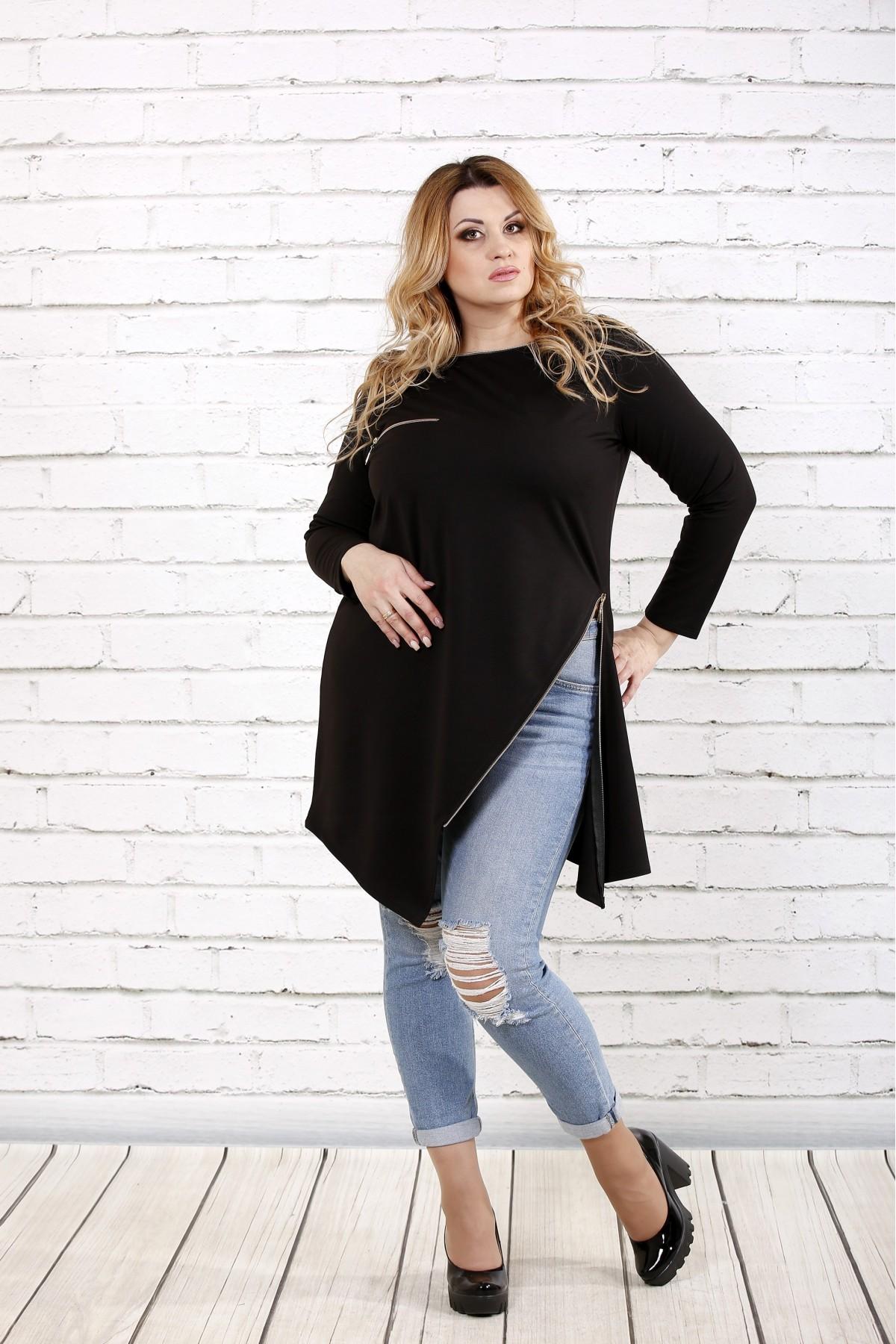Черная блузка с разрезом | 0710-2