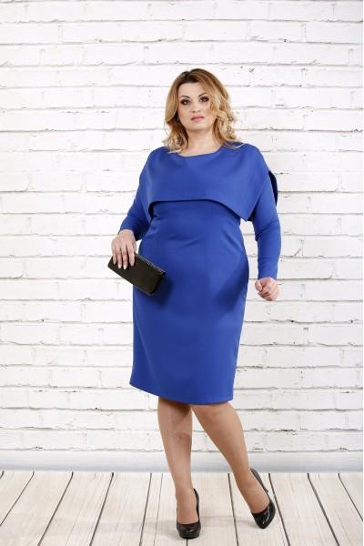 Синее строгое платье | 0719-2 - последний 58, 64р